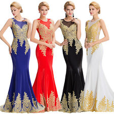 Sexy Appliques Wedding Bridesmaid Prom Gown Cocktail Party Formal Evening Dress