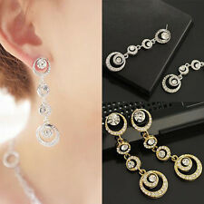 Trendy Noble Women Party Jewelry Crystal Circle Linked Dangle Ear Stud Earrings
