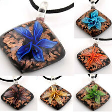 Charming Flower Design handwork lampwork Murano Art Glass Pendant necklace