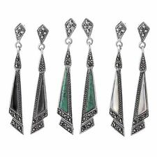 Dangle Inlay Marcasite Earrings Sterling Silver 925 Jewelry Gift Assorted