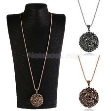 Women Fashion Gold Silver Plated Flower Pendant Long Chain Statement Necklace