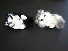 NEW ADORABLE 100% NATURAL RABBIT HAIR WHITE PLAYFUL CAT,KITTEN FIGURINE