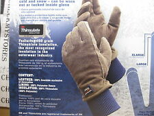"""New Wells Lamont 73671 COLD WEATHER""""GRIPS"""" WORK GLOVES 1PAIR SUEDE COWHIDE LEATH"""