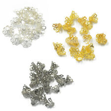 50pcs Silver/Gold Flower Bead Caps Mixed Size Jewelry Findings Beading Charms
