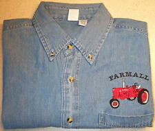 Mens Farmall H/M Embroidered Denim Shirt with Pocket