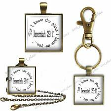 Jeremiah 29:11Bible Scripture For I Know... Key Chain Pendant Charm or Necklace