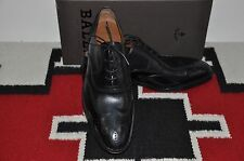 Bally Scribe Charles Wingtip Black Calf Hand Made in Switzerland Dress Shoes