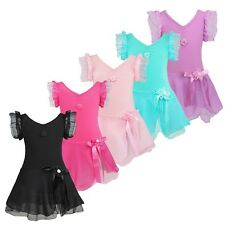 Girls Leotard Lace Short Sleeve Ballet Tutu Dress Gymnastics Dance wear 2-12Y