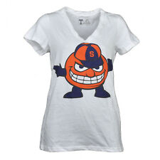 NCAA Syracuse Orange V Neck Tshirt Tee White Womens Short Sleeve Big Logo Sport
