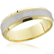 Mens Hammered Two Tone 14k White & Yellow Gold Wedding Band 6mm Wide Ring Solid