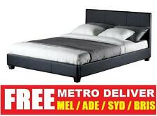 PRADA KING SINGLE DOUBLE QUEEN KING SIZE BLACK BROWN WHITE PU LEATHER BED FRAME