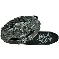 Hustler Skull Cross Bone 8-1008 Black Leather Belt Buckle Adult Waistband