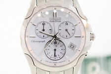 Ladies Citizen FB1158-55D Eco-Drive Stainless Steel MOP Dial Chronograph Watch