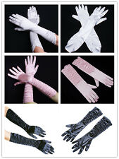 Lady Long Opera Satin Wedding Bridal Gloves Prom Fancy Elbow Lingerie Sexy party