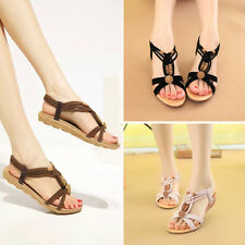 Women Summer Leisure Sandals Open Toe Beaded Flats Bohemia Strappy Beach Shoes