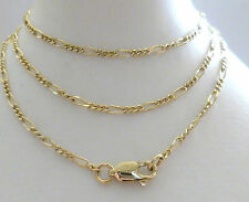 9ct 9k Solid Gold Figaro Chain Necklace Yellow, Rose 1.50mm N3 CUSTOM