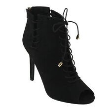 JACOBIES HARA-43 Women's Peep Toe Lace Up Stiletto Heel Ankle Booties