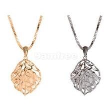Fashion Hollow Out Leaf Pendant Necklace with Rhinestone Inside Sweater Chain