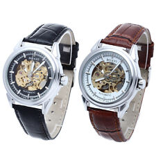 Leather Band Men's Steel Skeleton Automatic Mechanical Sport Army Wrist Watch