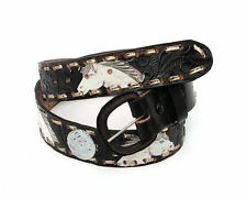 JAYCEE HORSE & WESTERN  LEATHER  BELT  SILVER CONCHOS WHITE HORSES GOLD LACING