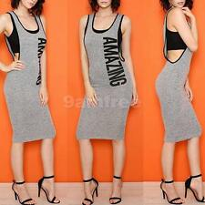 Women U Neck Sleeveless AMAZING Letters Print Party Bodycon Sexy Summer Dress