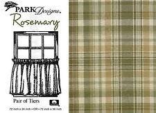Rosemary Tiers by Park Designs, Cream, Green & Tan Plaid, 72x24 or 72x36 Pair