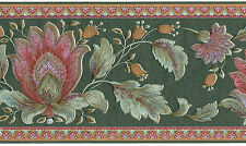Green Peacock Flame Flower Floral Rose Gold Burg Wall Wallpaper Border Wallcover