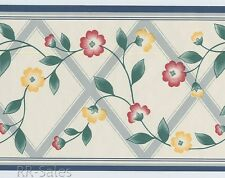 Blue Lattice Small Yellow Rose Flowers Floral Antique White Vtg Wallpaper Border