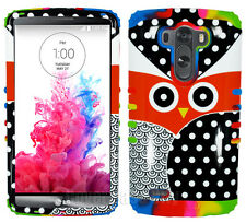 For LG Optimus G3 - Hybrid Shock Resistant Hard Case Cover Owl Polka Rainbow