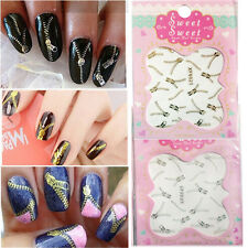 Decoration Wraps Gold Nail Art DIY Zipper 3D Zips Tips Nail Stickers Decals