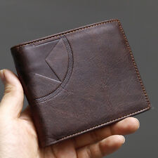New Brown Men's Leather Wallet Star Mark Credit Card Zippered Pocket Purse