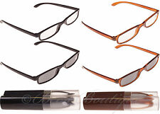 Reading & Sun Glasses Mens Ladies Specs With Case +1 +1.5 +2 +2.5 +3 Twin Pack