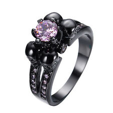 Pink Sapphire CZ Punk Skull Wedding Ring 10KT Black Gold Filled Jewelry Size5-10
