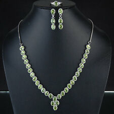 Aaa Finest Top Quality Luxurious Natural Peridot 925 Sterling Silver Necklace