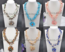 """D0272 5Row 19"""" Gemstone Flower Faceted Crystal White Pearl Necklace Pendant"""