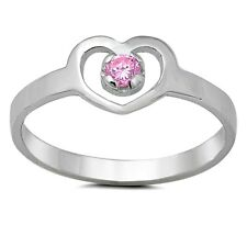 Sterling Silver Ring CZ Kids Heart Baby Pink Midi Ladies size 1-5 New 925 x42