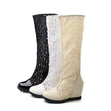 womens hollow lace wedge heel knee high summer boots sandals gladiator shoes Wzx
