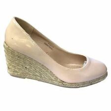Ex Store Womens Ladies Slip On Espadrille Rope Wedges Mid Wedge Patent Shoes