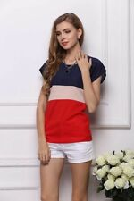 New Womens Contrast Color Short Sleeve Chiffon Pullover Blouse Tops Shirt