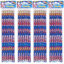 Pack of 6 x SPACE RETRO ROBOT PENCILS & ERASERS ~ CHEAP PARTY BAG FILLERS