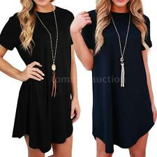 Sexy Women's Summer Solid Round Neck Casual Evening Party Short Mini Dress T6L5