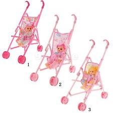 Multicolored Doll Stroller Plastic Children Pram Pushchair Toy Gift Play Set