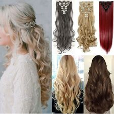 Thick Clip in Hair Extensions Straight Curly Full Head Extension Via Human Hair