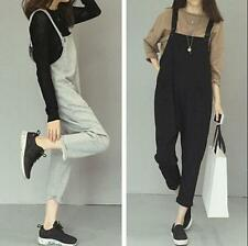 Korean Womens Casual Loose Strappy Romper Overall Cotton Pants Dress Jumpsuit sz