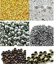 Gold Black Silver Plated Round Tube Crimp Beads 2mm 2.5mm 3mm Findings