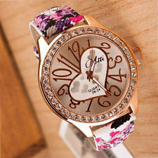 Women's Quartz Bangle Wrist Watch Roman Heart Numbers Crystal Band Crystal Hot