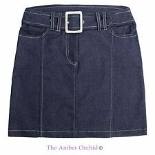New Ladies Womens Belted Denim Blue Summer Mini Skirt Short Jeans