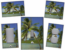 TROPICAL PALM TREE ON THE BEACH - PALM TREE WALL DECOR LIGHT SWITCH PLATE