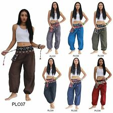 Pants PLC1-7 Cotton Embroidered Tribal Hmong Gypsy Harem Genie Aladdin Women Men