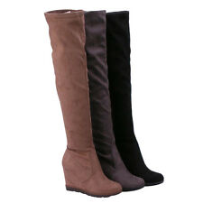 BETANI FD01 Women's Wedge Heel Platform Faux Suede Stretchy Over Knee High Boots